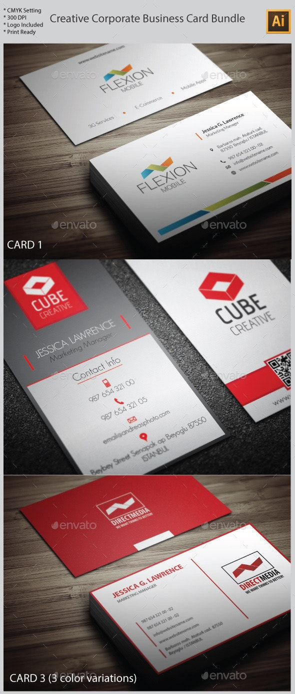 3 in 1 Creative Corporate Business Card Bundle - Creative Business Cards