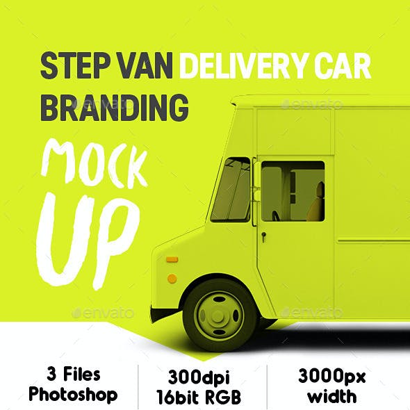 Step Van Delivery Cars Branding Mock-up