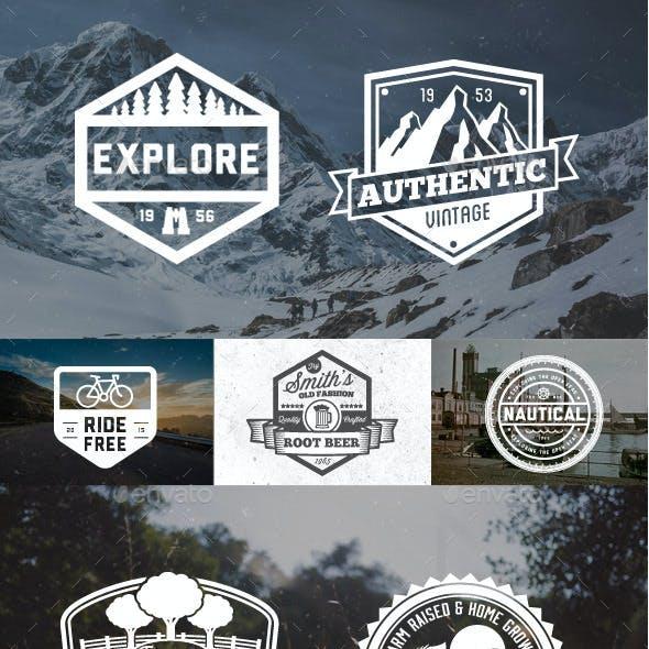 65 Vintage Badges and Logos Bundle