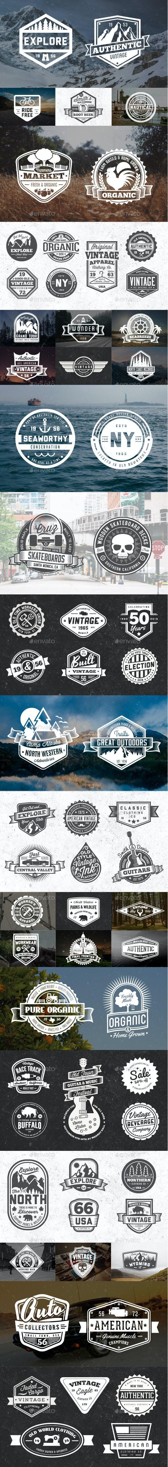 65 Vintage Badges and Logos Bundle - Badges & Stickers Web Elements