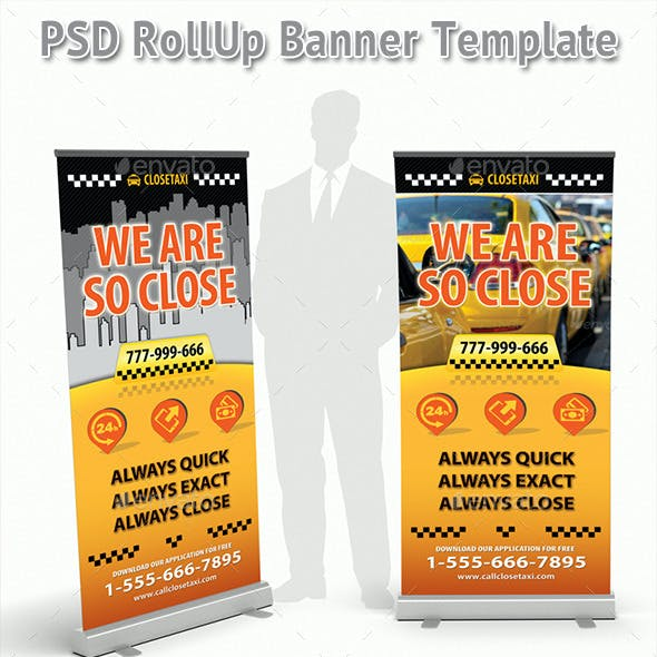 Taxi Cab Service Rollup Banner 46
