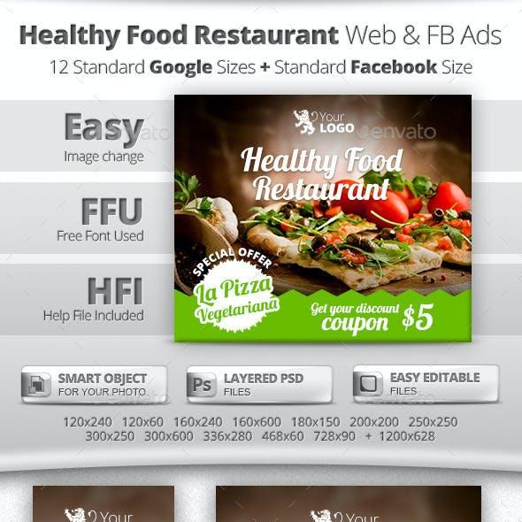 Healthy Restaurant Web & Facebook Banners Ads