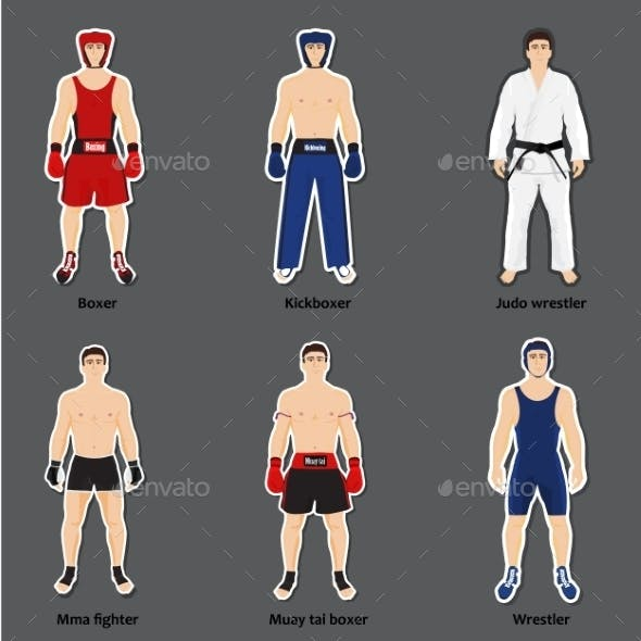 Set of Different Fighters