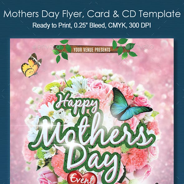 Mothers Day Flyer Event CD & Card Template