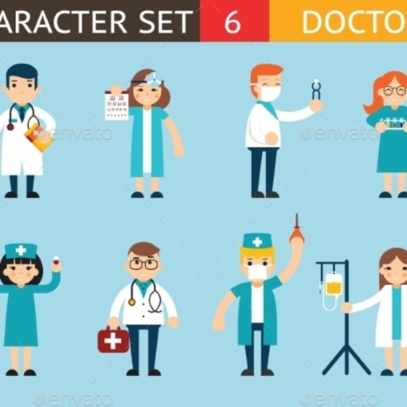 Doctor and Nurse Characters Madical Icon Set