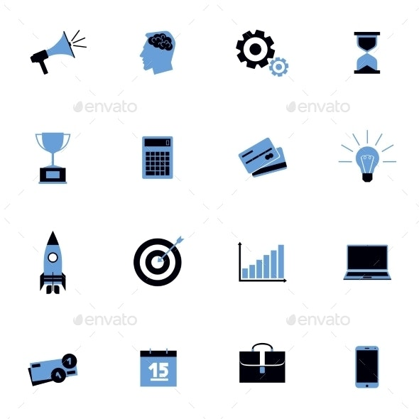Black and Blue Business Icons Flat Set - Business Icons