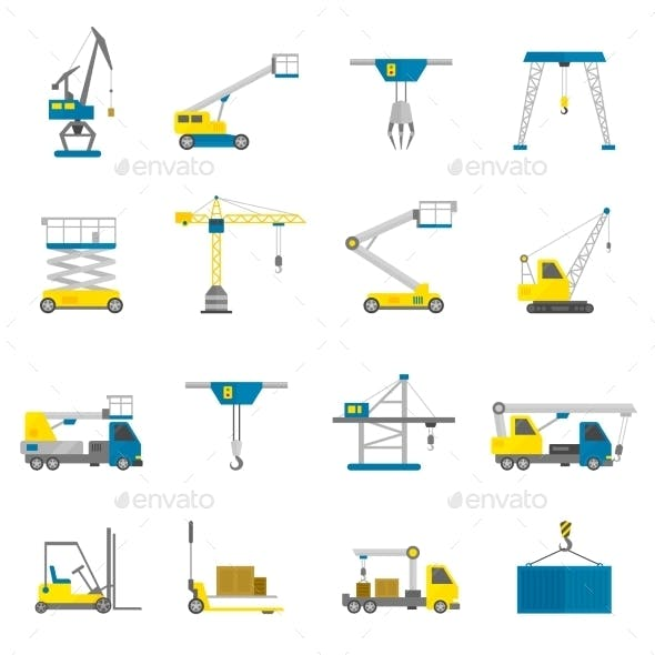 Lifting Equipment Flat Icon Set