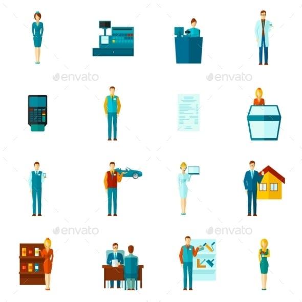 Salesman Icons Flat Set