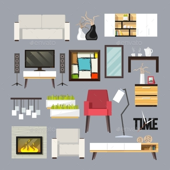 Living Room Furniture Set - Man-made Objects Objects
