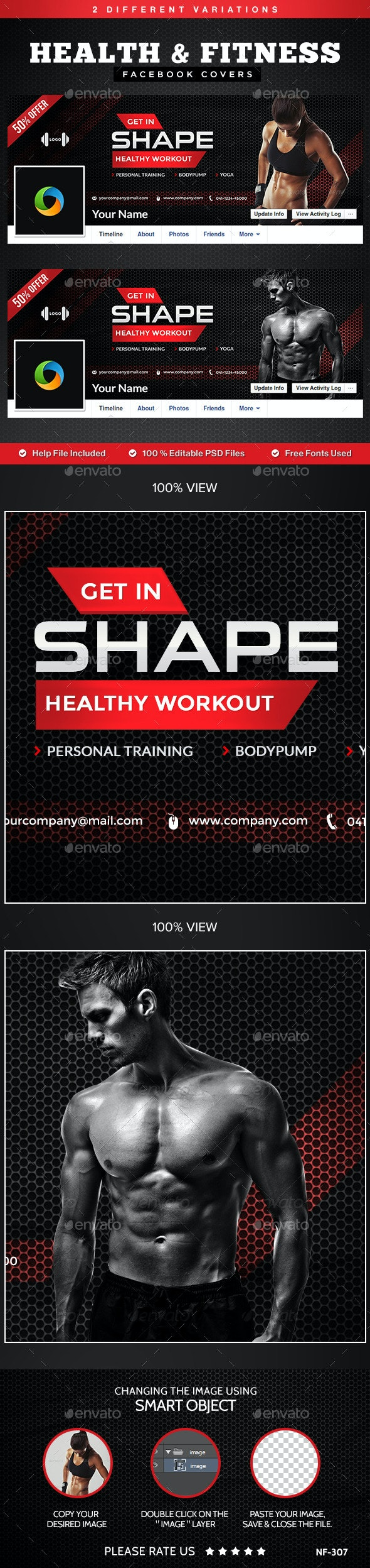 Health & Fitness Facebook Covers - 2 Designs - Facebook Timeline Covers Social Media