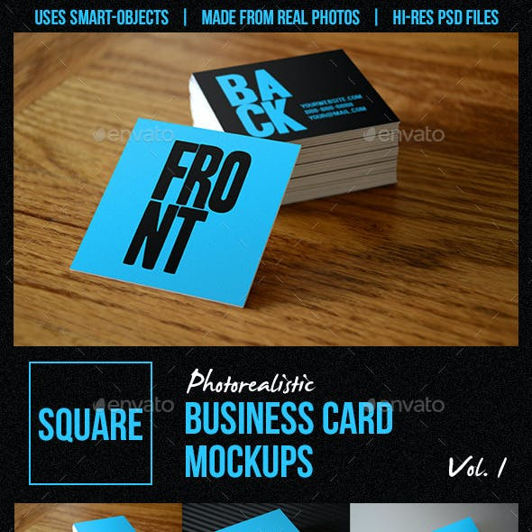 Square Business Card Mockups Vol. 1