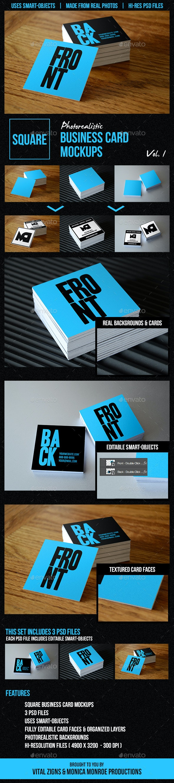Square Business Card Mockups Vol. 1 - Business Cards Print