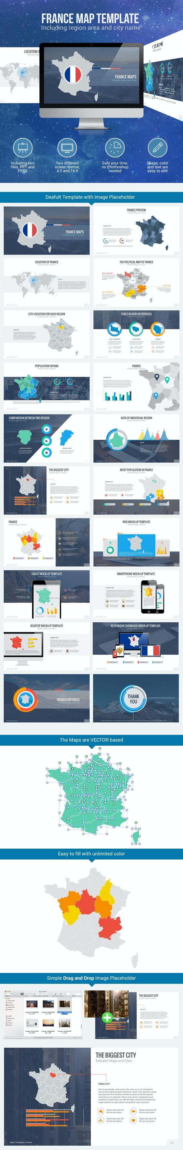France Map - Editable Map Presentation - PowerPoint Templates Presentation Templates