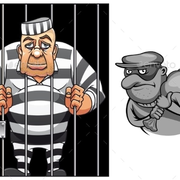 Cartoon Prisoner and Robber