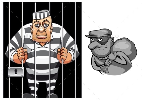 Cartoon Prisoner and Robber - People Characters