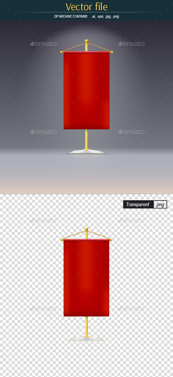 Red Pennant on a Gold Stand - Man-made Objects Objects