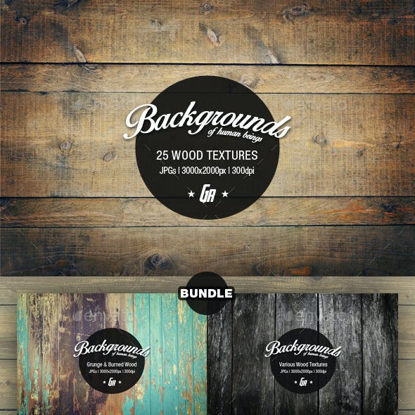 25 Wood Textures Bundle - Wooden Backgrounds