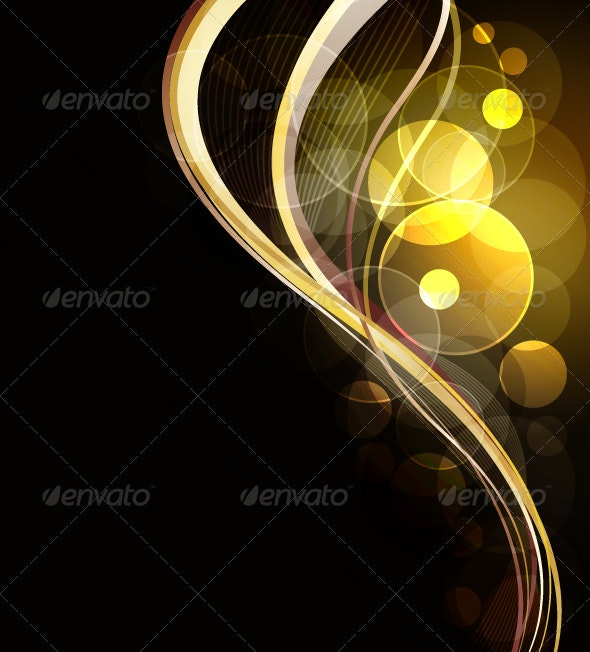 Abstract Background with Golden Glowing Elements - Web Technology