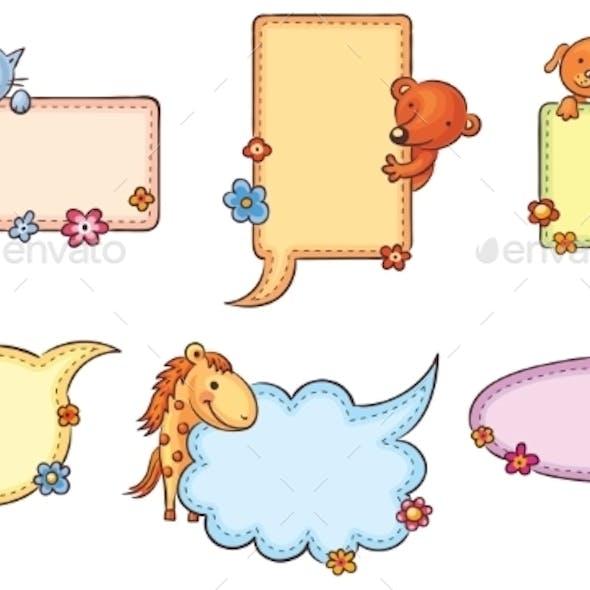 Speech Bubbles with Cartoon Animals