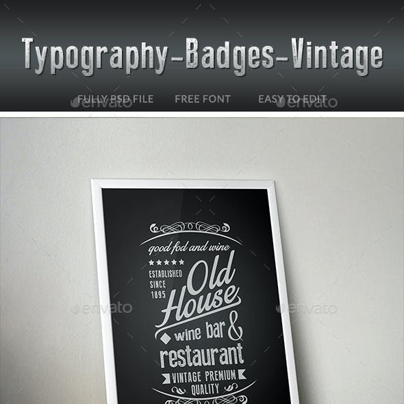 Typography Badges Vintage