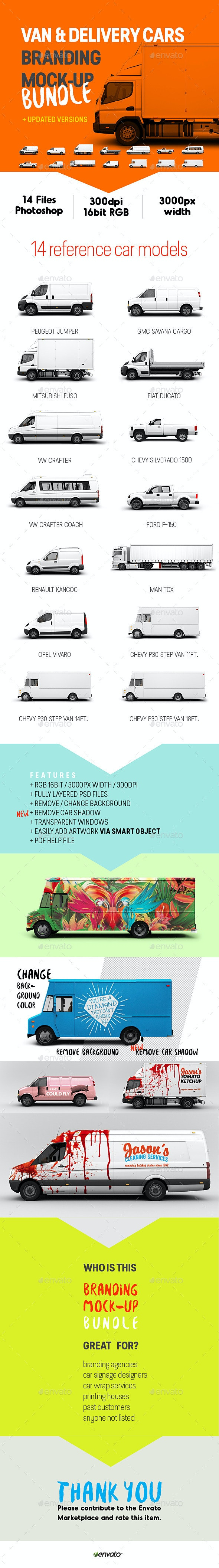 Van & Delivery Cars Branding Mockup Bundle - Vehicle Wraps Print