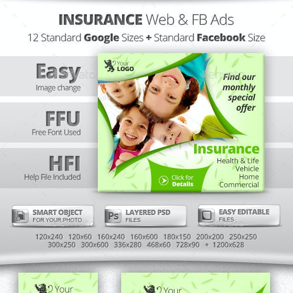 Insurance Web & Facebook Banners Ads