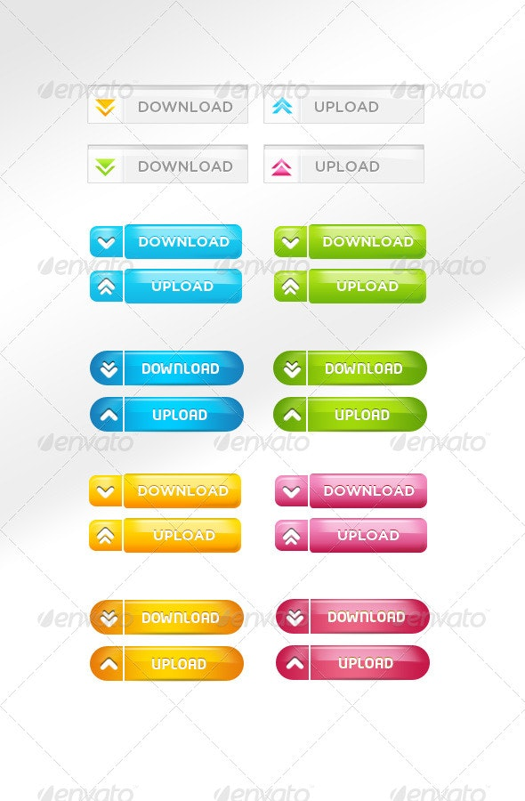 Colorful Quality Download/Upload Buttons - Buttons Web Elements