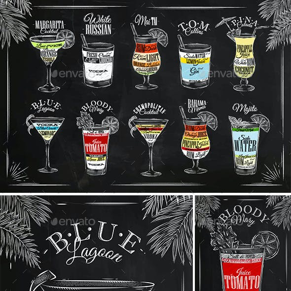 Coctails Chalk Set