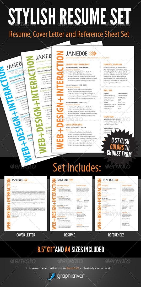 Stylish Resume Template Set - Resumes Stationery