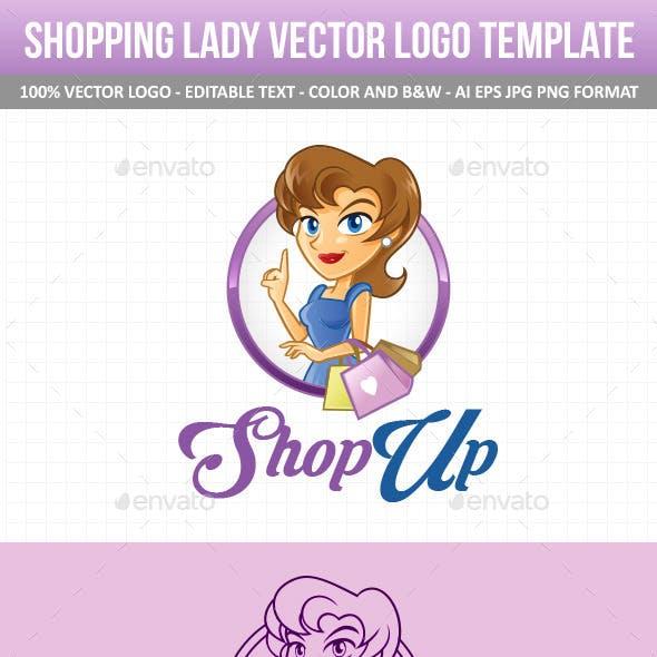 Shopping Lady Vector Logo Template