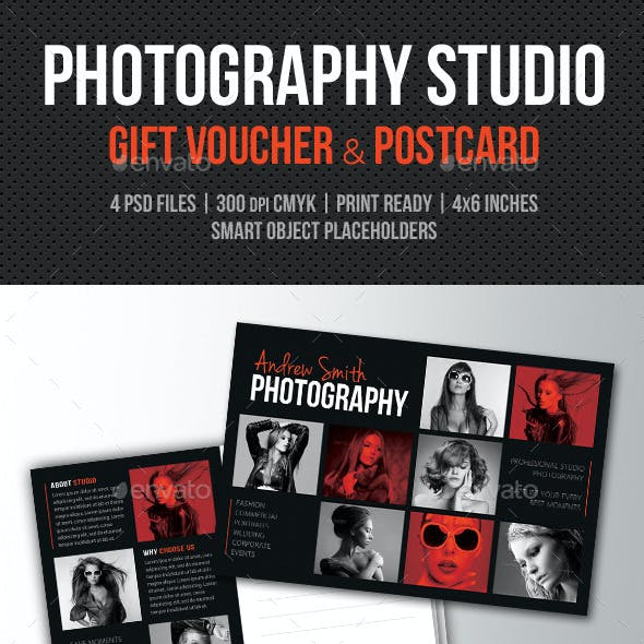 Photography Studio Gift Voucher and Postcard
