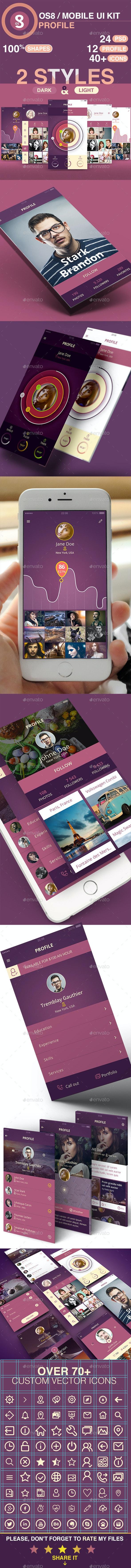 Profile / Mobile UI Kit - User Interfaces Web Elements