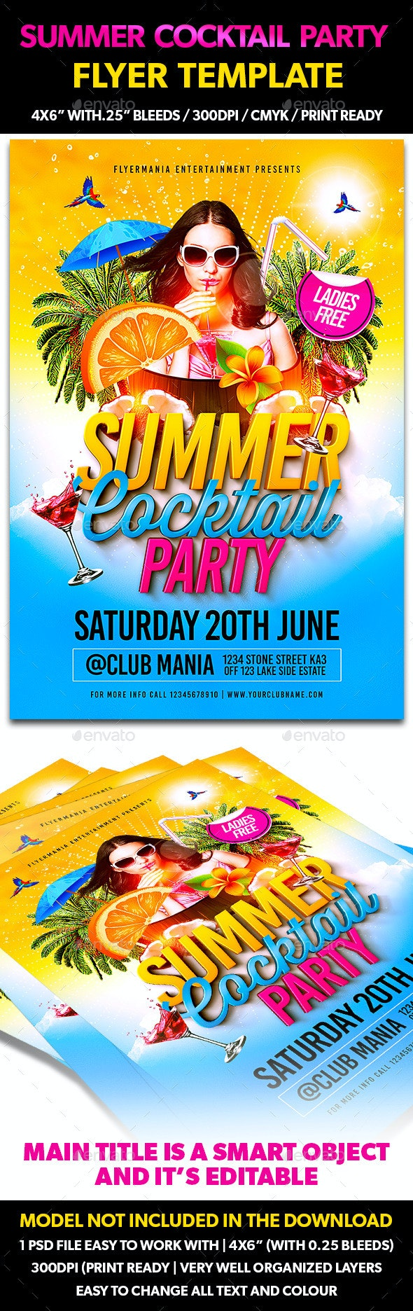 Summer Cocktail Party Flyer Template - Clubs & Parties Events