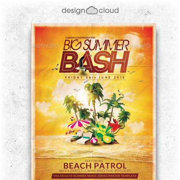 Simple Logo Intro Ocean and Retro Club & Party Flyer Template