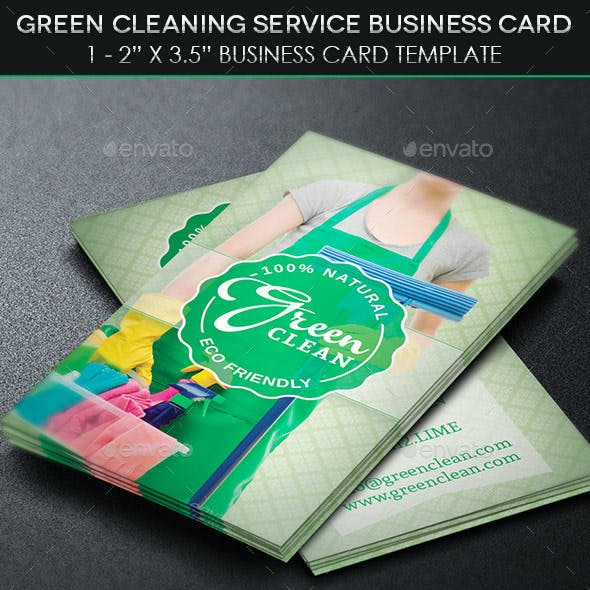 Green Cleaning Service Business Card Template