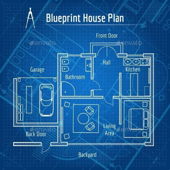 Blueprint House Plan - Miscellaneous Vectors