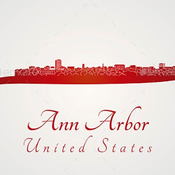 Ann Arbor Skyline in Red