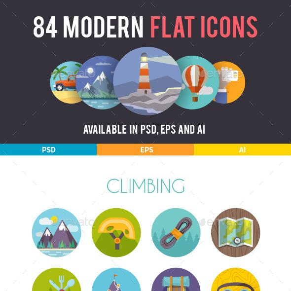84 Modern Flat Icons