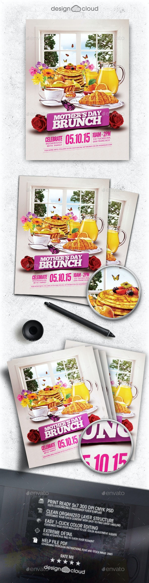 Mother's Day Brunch Flyer Template - Holidays Events