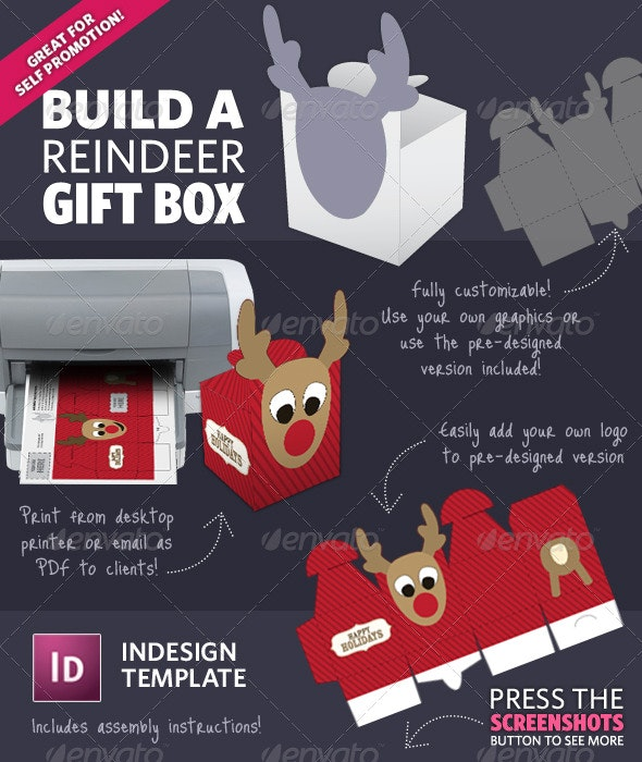 Build A Reindeer Holiday Gift Box Template - Packaging Print Templates
