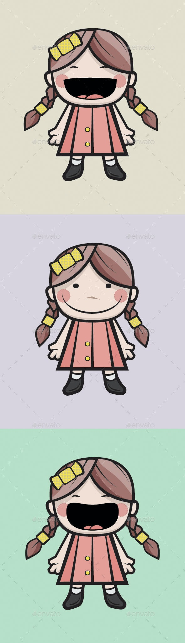 Little Girls Set - Characters Vectors