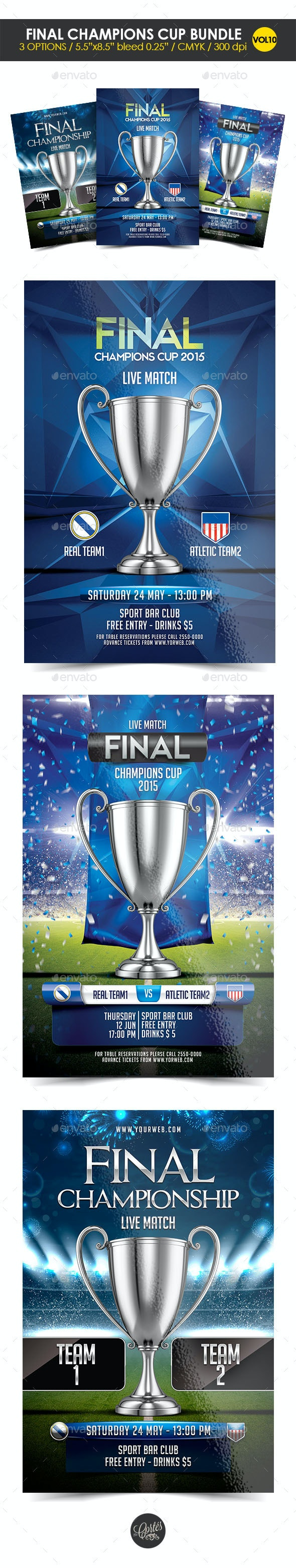 Final Champions Cup Flyer Template - Clubs & Parties Events