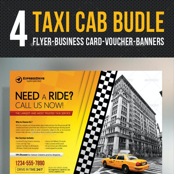 4 Taxi Cab Flyer - Voucher - Banner - Card Bundle