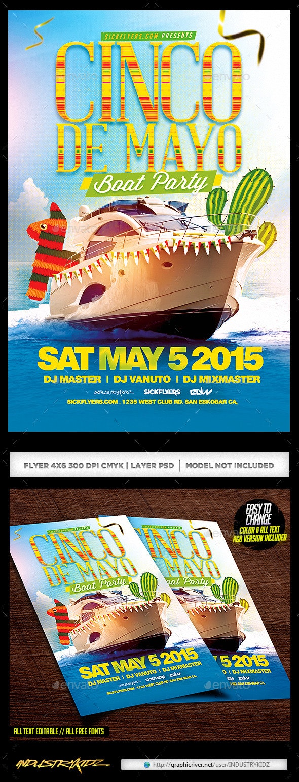 Cinco De Mayo Boat Party Flyer - Holidays Events