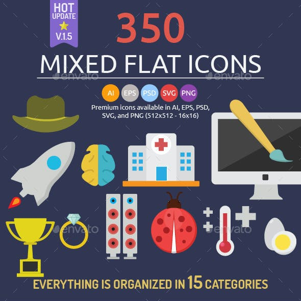 350 Mixed Flat Icons