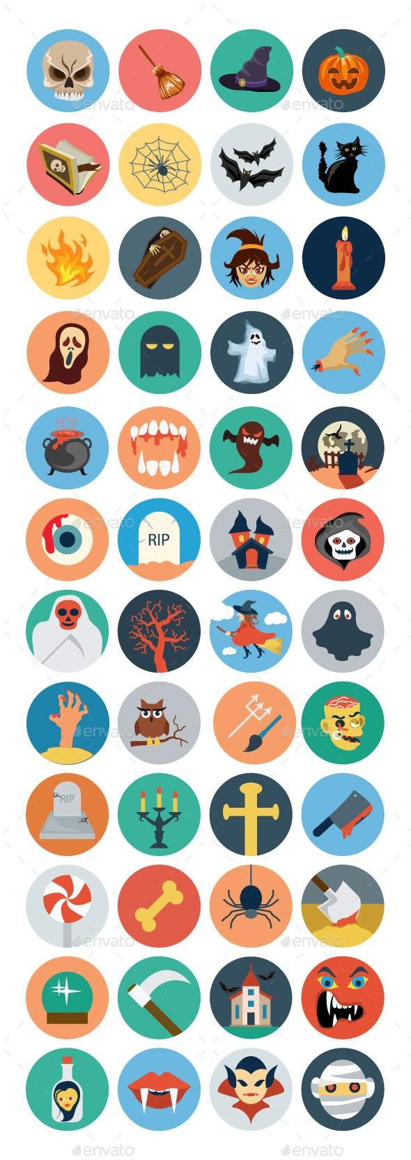 40+ Flat Halloween Icons - Seasonal Icons