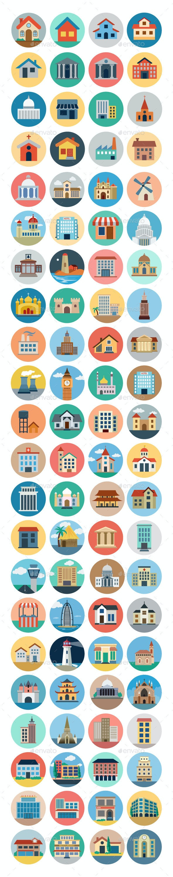 75+ Flat Building Icons - Buildings Objects