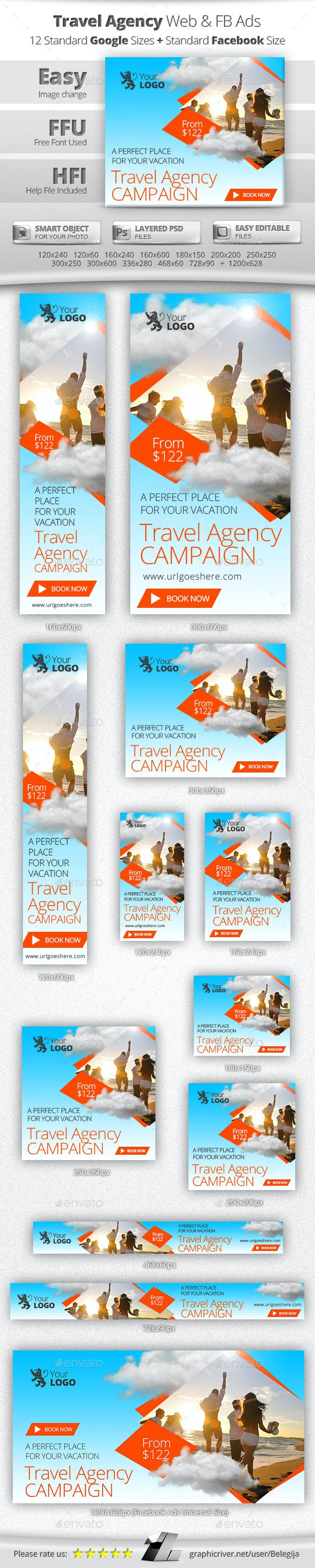 Travel Agency Web & Facebook Banners Ads - Banners & Ads Web Elements