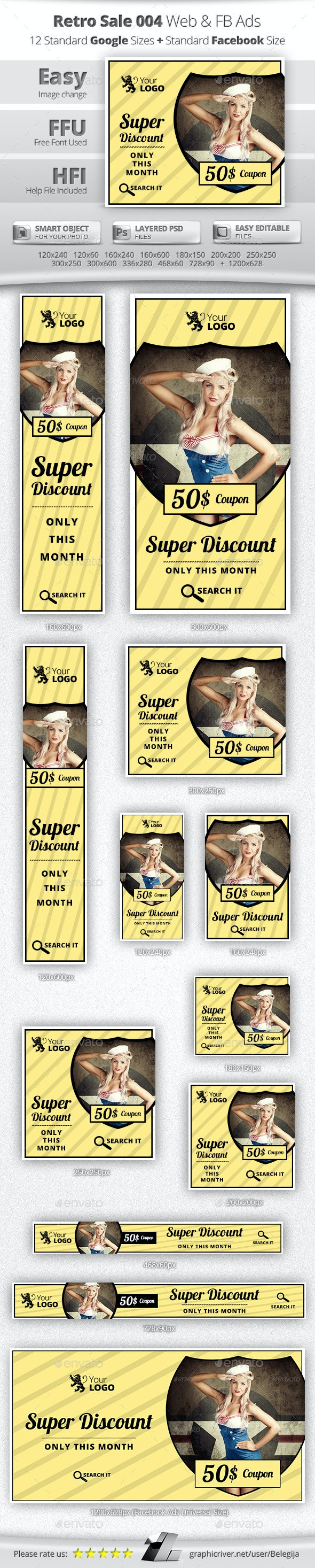 Retro Sale Web & Facebook Banners Ads - Banners & Ads Web Elements