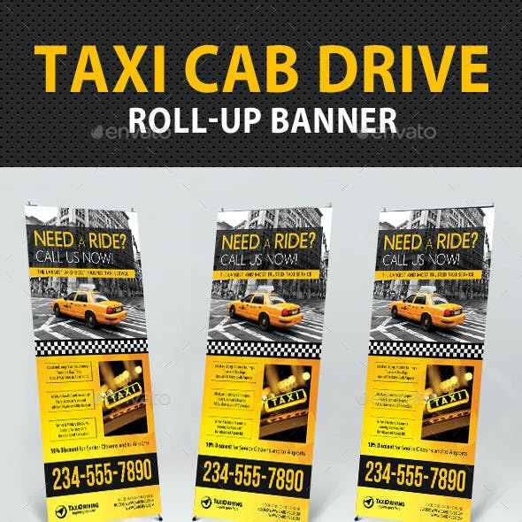 Taxi Cab Drive Roll-Up Banner V2